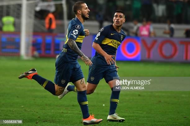 Dario Benedetto of Argentina's Boca Juniors celebrates his goal scored against Brazil's Palmeiras during their 2018 Copa Libertadores semifinal...