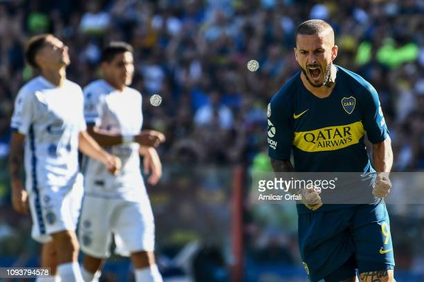 Dario Benedetto of Boca Juniors celebrates after scoring during a match between Boca Juniors and Godoy Cruz as part of Superliga 2018/19 at Estadio...