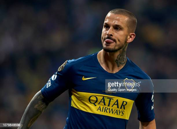 Dario Benedetto of Boca Juniors celebrates after scoring his team's first goal during the second leg of the final match of Copa CONMEBOL Libertadores...