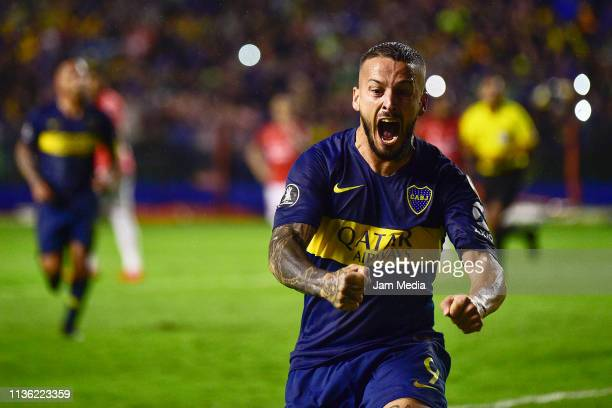 Dario Benedetto of Boca Juniors celebrates after scoring his team's second goal during a roup G match between Boca Juniors and Jorge Wilstermann as...