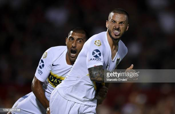 Dario Benedetto of Boca Juniors celebrates after scoring the first goal of his team during a match between Newell s Old Boys and Boca Juniors as part...