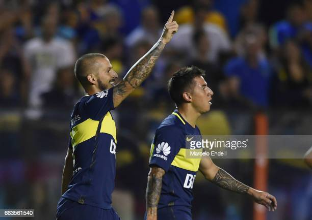 Dario Benedetto of Boca Juniors celebrates after scoring the first goal of his team during a match between Boca Juniors and Defensa y Justicia as...