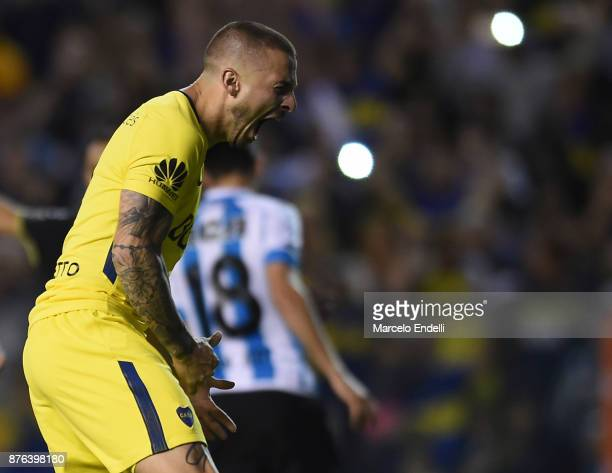 Dario Benedetto of Boca Juniors celebrates after scoring the first goal of his team during a match between Boca Juniors and Racing Club as part of...
