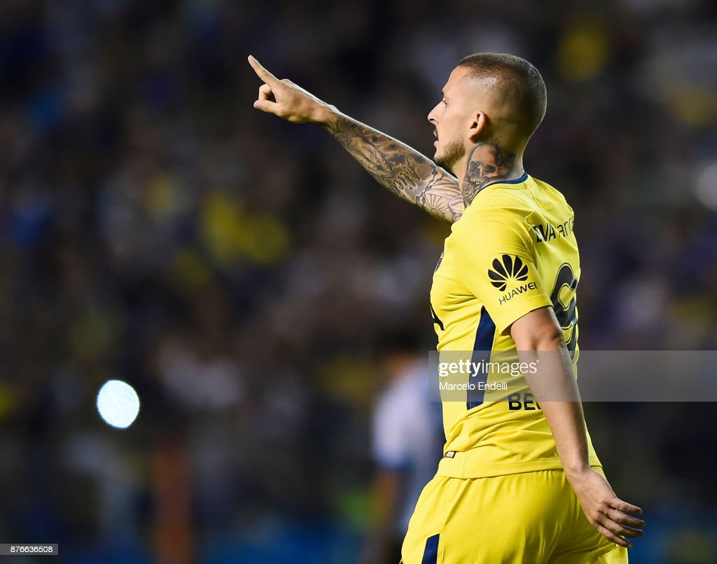 Dario Benedetto of Boca Juniors celebrates after scoring the first goal of his team during a match between Boca Juniors and Racing Club as part of the Superliga 2017/18 at Alberto J. Armando Stadium on November 19, 2017 in Buenos Aires, Argentina.