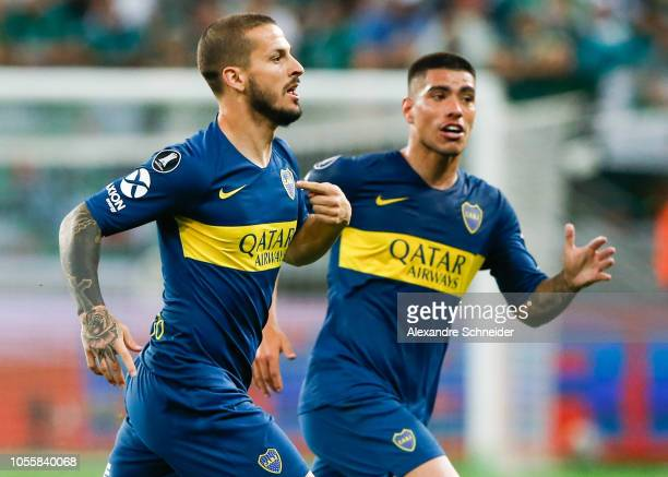 Dario Benedetto of Boca Juniors celebrates after scoring the second goal of his team during the match against Palmeiras for the Copa CONMEBOL...