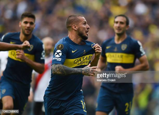 Dario Benedetto of Boca Juniors celebrates after scoring the second goal of his team during the first leg match between Boca Juniors and River Plate...