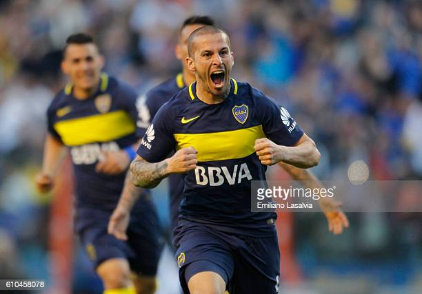 Dario Benedetto of Boca Juniors celebrates after scoring the second goal of his team during a match between Boca Juniors and Quilmes as part of 4th...