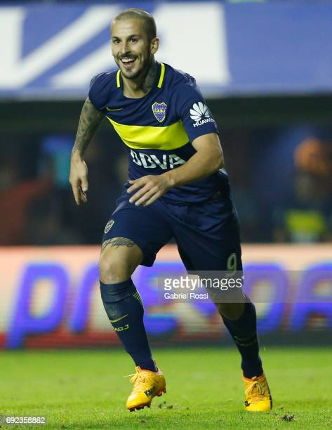 Dario Benedetto of Boca Juniors celebrates after scoring the third goal of his team during a match between Boca Juniors and Independiente as part of...