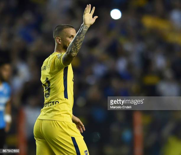 Dario Benedetto of Boca Juniors celebrates after scoring the third goal of his team during a match between Boca Juniors and Belgrano as part of...