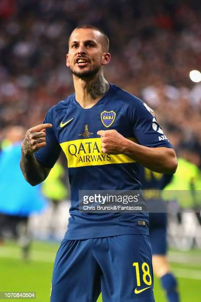Dario Benedetto of Boca Juniors celebrates scoring his sides first goal during the second leg of the final match of Copa CONMEBOL Libertadores 2018...