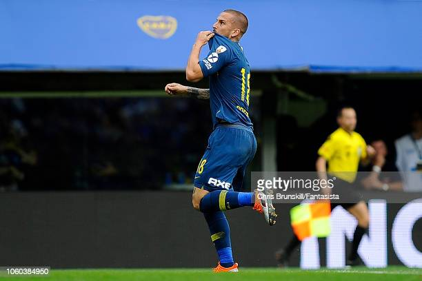 Dario Benedetto of Boca Juniors celebrates scoring his sides second goal during the first leg match between Boca Juniors and River Plate as part of...
