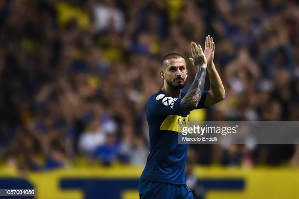 Dario Benedetto of Boca Juniors greets the fans before leaving the field during a match between Boca Juniors and Tigre as part of Superliga 2018/19...