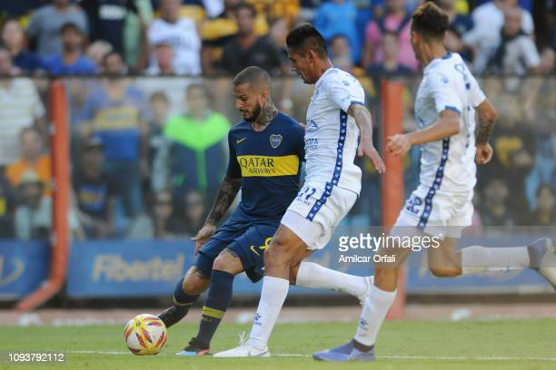 Dario Benedetto of Boca Juniors kicks the ball during a match between Boca Juniors and Godoy Cruz as part of Superliga 2018/19 at Estadio Alberto J...
