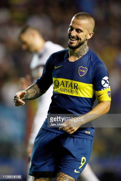 Dario Benedetto of Boca Juniors reacts after missing a shot during a during a match between Boca Juniors and Lanus as part of Superliga 2018/19 at...