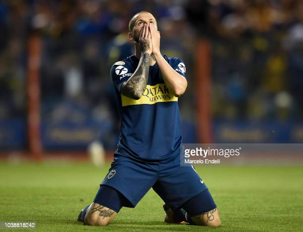 Dario Benedetto of Boca Juniors reacts during a match between Boca Juniors and River Plate as part of Superliga 2018/19 at Estadio Alberto J Armando...
