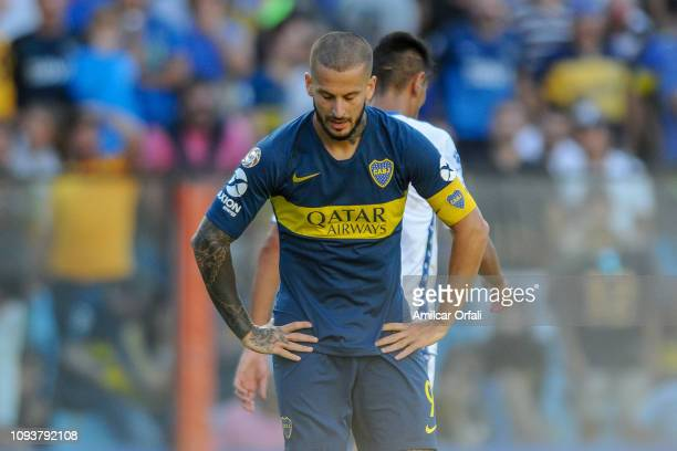 Dario Benedetto of Boca Juniors reacts during a match between Boca Juniors and Godoy Cruz as part of Superliga 2018/19 at Estadio Alberto J Armando...