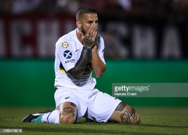 Dario Benedetto of Boca Juniors reacts during a match between Newell´s Old Boys and Boca Juniors as part of Superliga 2018/19 at Estadio Marcelo...