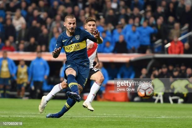 Dario Benedetto of Boca Juniors scores his team's first goal during the second leg of the final match of Copa CONMEBOL Libertadores 2018 between Boca...
