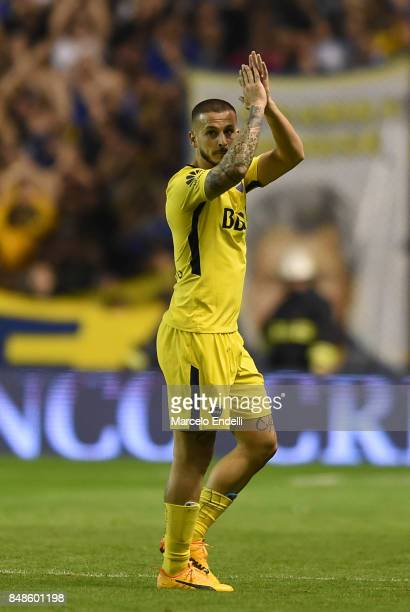 Dario Benedetto of Boca Juniors waves the fans after winning a match between Boca Juniors and Godoy Cruz as part of Superliga 2017/18 at Alberto J...
