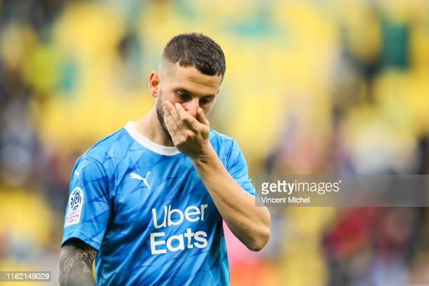 Dario Benedetto of Marseille during the Ligue 1 match between FC Nantes and Olympique Marseille at Stade de la Beaujoire on August 17, 2019 in...