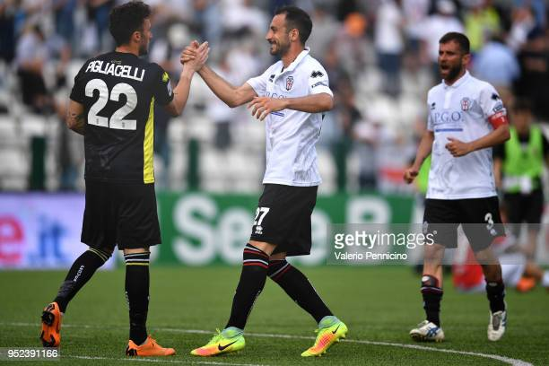 Dario Bergamelli and Mirko Pigliacelli of Pro Vercelli FC celebrate victory at the end of the serie B match between Pro Vercelli FC and Parma Calcio...