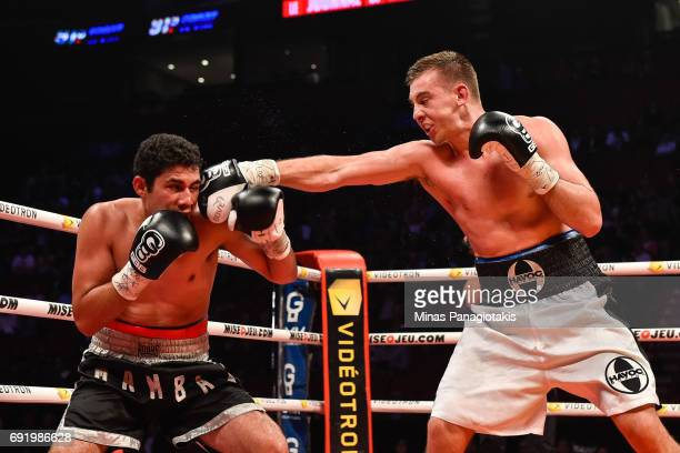 Dario Bredicean connects with a punch against Manuel Garcia during the super middleweight match at the Bell Centre on June 3 2017 in Montreal Quebec...