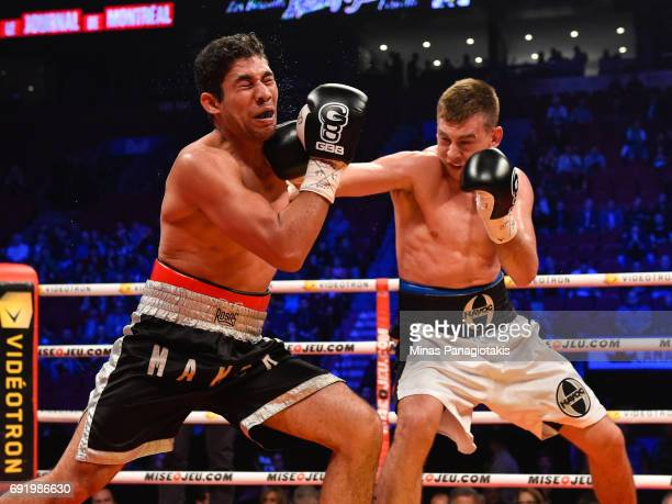 Dario Bredicean connects with a right hook against Manuel Garcia during the super middleweight match at the Bell Centre on June 3 2017 in Montreal...