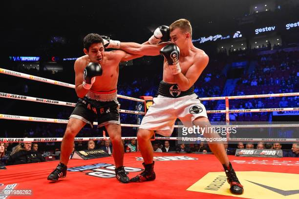 Dario Bredicean connects with a right punch against Manuel Garcia during the super middleweight match at the Bell Centre on June 3 2017 in Montreal...