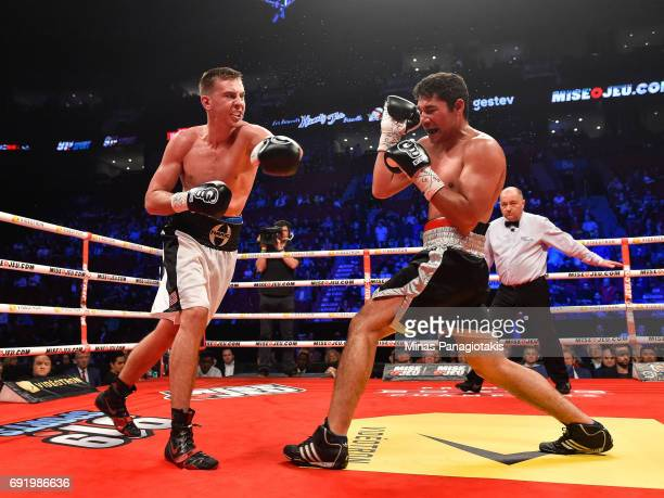 Dario Bredicean misses a left hook against Manuel Garcia during the super middleweight match at the Bell Centre on June 3 2017 in Montreal Quebec...