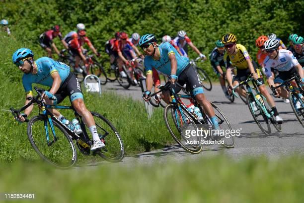 Dario Cataldo of Italy and Astana Pro Team / Andrey Zeits of Kazahkstan and Astana Pro Team / Antwan Tolhoek of The Netherlands and Team Jumbo Visma...
