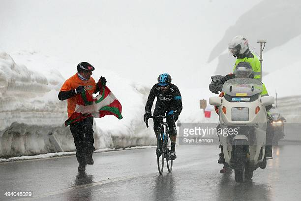Dario Cataldo of Italy and Team SKY climbs towards the top of the Stelvio Pass during the sixteenth stage of the 2014 Giro d'Italia a 139km high...