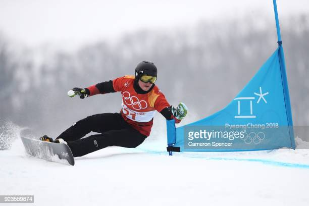 Dario Caviezel of Switzerland competes during the Men's Parallel Giant Slalom Elimination Run on day fifteen of the PyeongChang 2018 Winter Olympic...