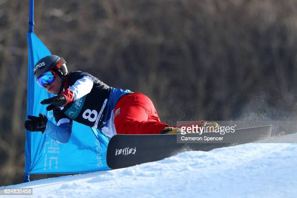 Dario Caviezel of Switzerland competes in the FIS Freestyle World Cup Parallel Giant Slalom Mens Final at Bokwang Snow Park on February 12 2017 in...