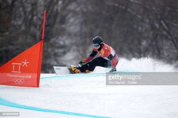 Dario Caviezel of Switzerland in action during the Men's Snowboard Parallel Giant Slalom competition at Phoenix Snow Park on February 24 2018 in...