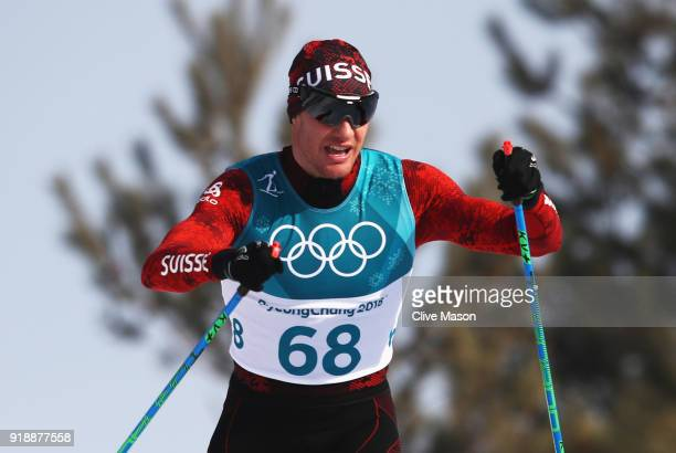 Dario Cologna of Switzerland competes during the Cross-Country Skiing Men's 15km Free at Alpensia Cross-Country Centre on February 16, 2018 in...
