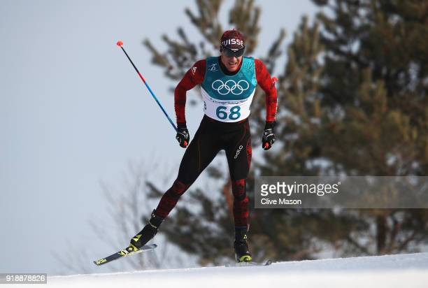 Dario Cologna of Switzerland competes during the CrossCountry Skiing Men's 15km Free at Alpensia CrossCountry Centre on February 16 2018 in...