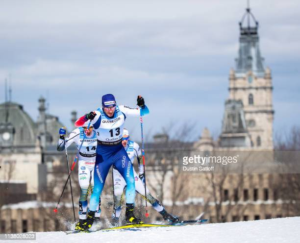 Dario Cologna of Switzerland competes in the Men's 15km freestyle pursuit during the FIS Cross Country Ski World Cup Final on March 24, 2019 in...