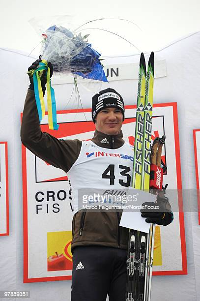 Dario Cologna of Switzerland reacts after winning the men's 33 km Cross Country Skiing during the FIS World Cup on March 19 2010 in Falun Sweden