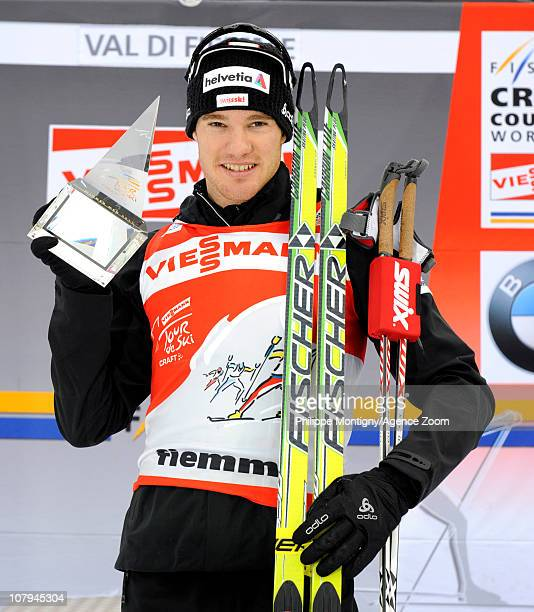 Dario Cologna of Switzerland takes 1st place after the FIS CrossCountry World Cup Tour de Ski Men's 9 km Final Climb on January 9 2011 in Val di...