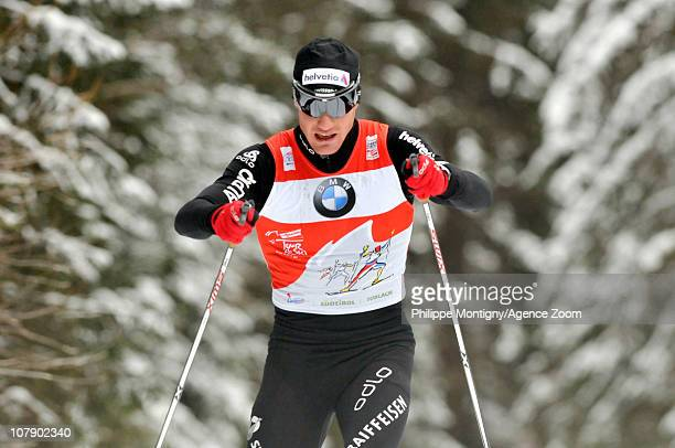 Dario Cologna of Switzerland takes 1st place during the FIS CrossCountry World Cup Tour de Ski Men's 35 km on January 6 2011 in Toblach Italy