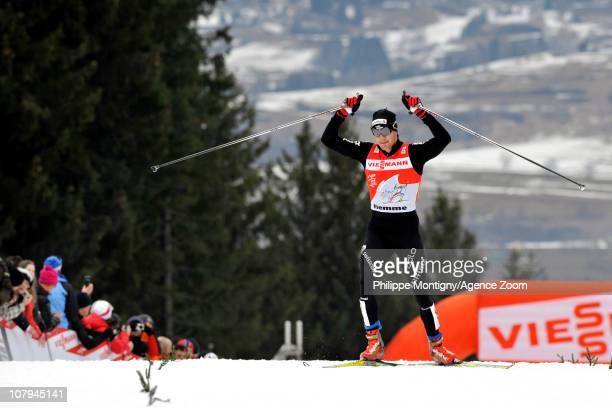 Dario Cologna of Switzerland takes 1st place during the FIS CrossCountry World Cup Tour de Ski Men's 9 km Final Climb on January 9 2011 in Val di...