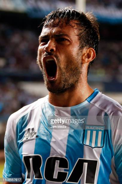 Dario Cvitanich of Racing Club celebrates after scoring the first goal of his team during a match between Racing Club and Estudiantes as part of...