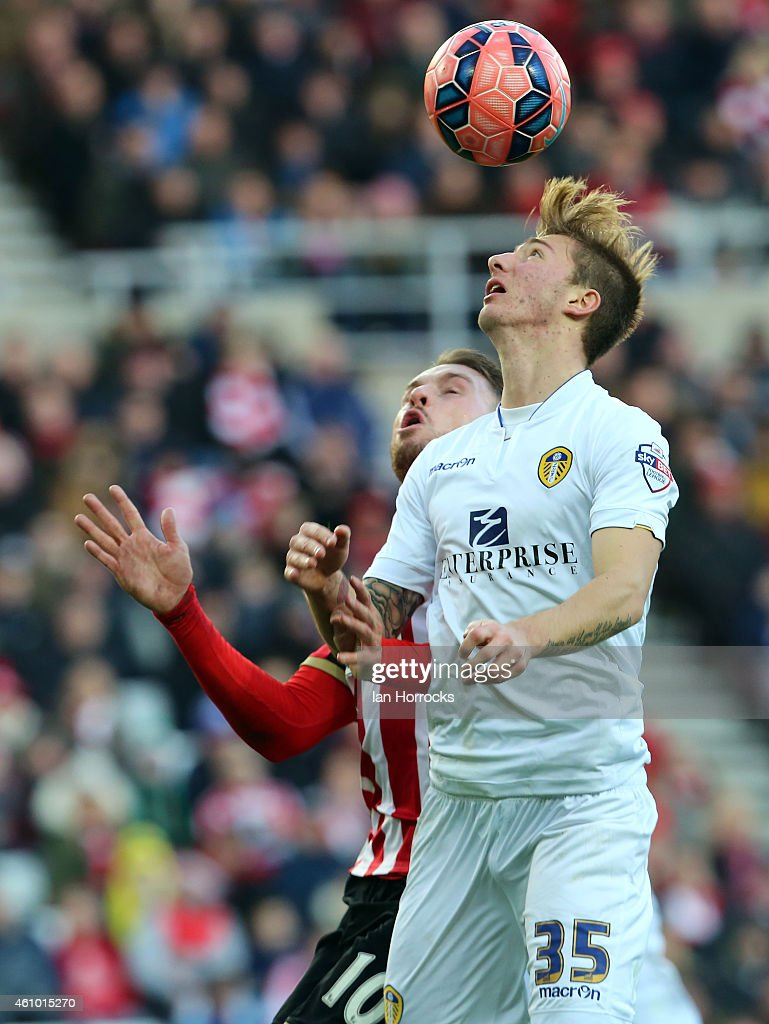 Dario Del Fabro of Leeds United during the FA Cup third round match between Sunderland and Leeds United at the Stadium of Light on January 04, 2015 in Sunderland, England.