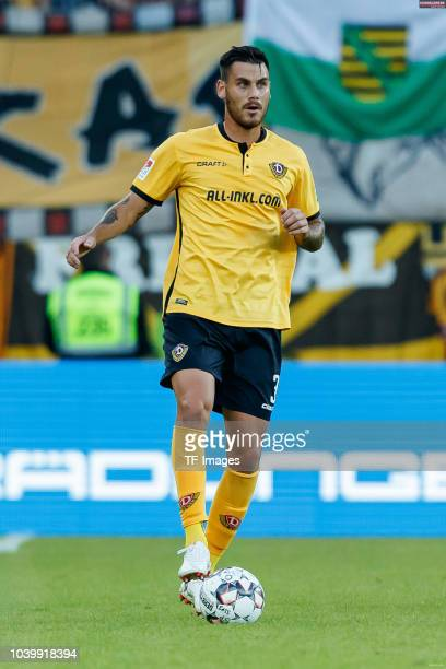 Dario Dumic of Dynamo Dresden controls the ball during the Second Bundesliga match between SSV Jahn Regensburg and SG Dynamo Dresden on September 14...