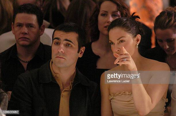 Dario Franchitti and Ashley Judd during Olympus Fashion Week Fall 2004 Tuleh Front Row at Bryant Park in New York City New York United States