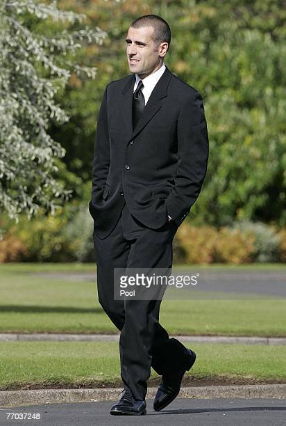 Dario Franchitti arrives for the funeral of Colin McRae and son Johnny at East Chapel, Daldowie Crematorium on September 26, 2007 in Glasgow,...