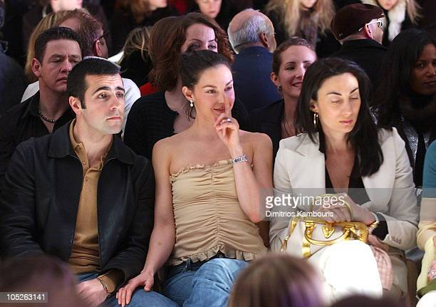 Dario Franchitti Ashley Judd and Anh Duong during Olympus Fashion Week Fall 2004 Tuleh Front Row at The Promenade at Bryant Park in New York City New...