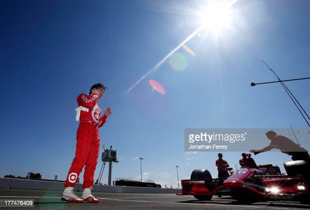 Dario Franchitti driver of the Target Chip Ganassi Racing Dallara Honda during the practice for the IZOD IndyCar Series GoPro Grand Prix of Sonoma on...