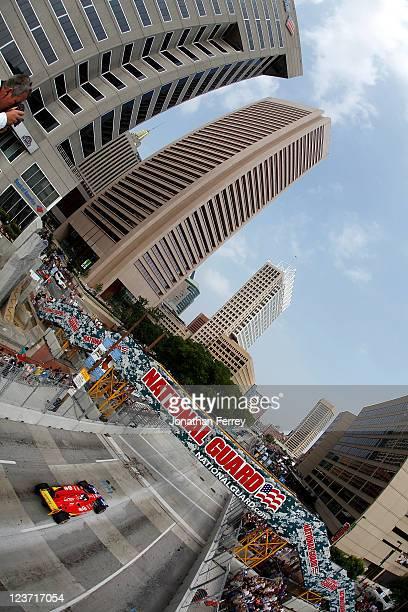 Dario Franchitti drives his Target Chip Ganassi Racing Dallara Honda during the IZOD IndyCar Series Baltimore Grand Prix on September 4 2011 on the...