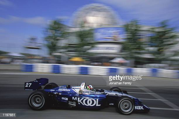 Dario Franchitti drives his Team Kool Green Honda Lola during the Molson Indy Vancouver round 10 of the CART FedEx Championship Series on July 28...